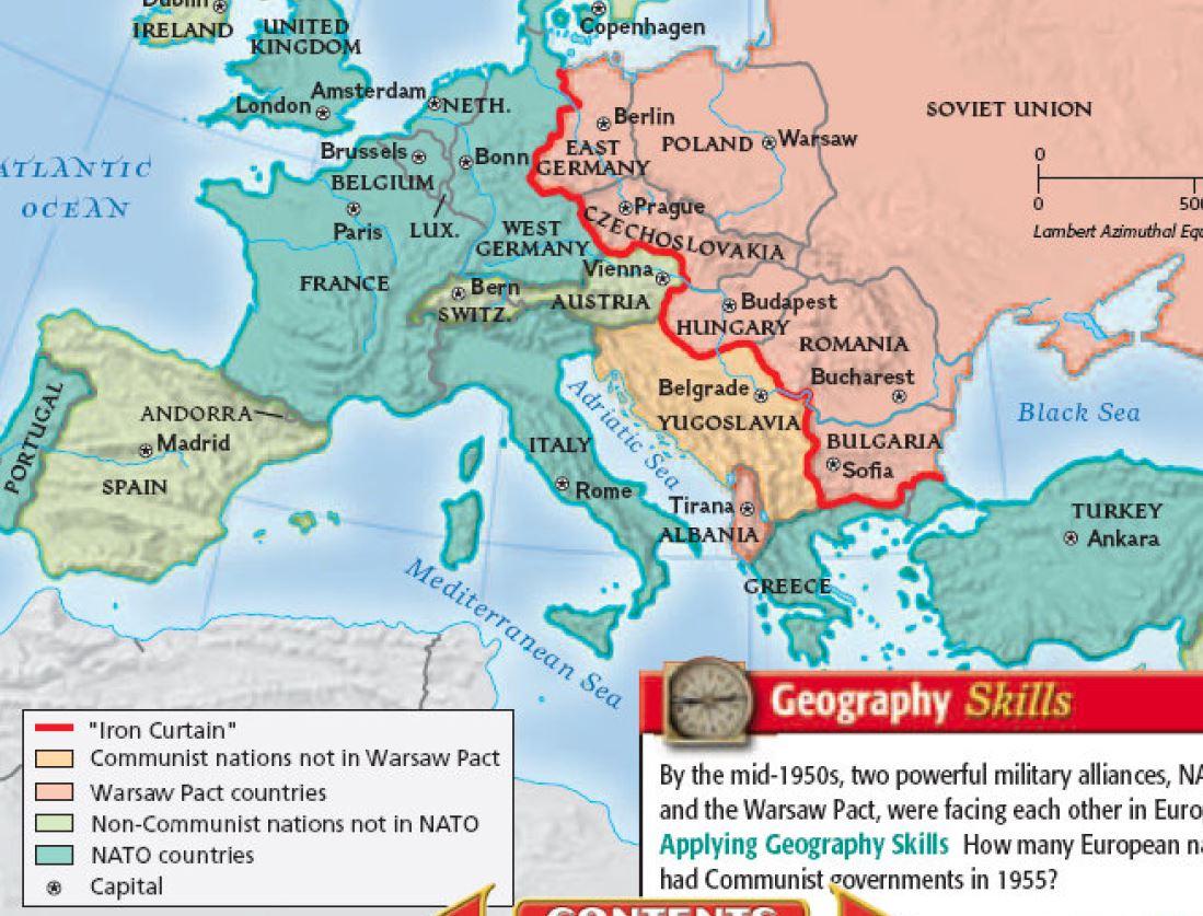 The iron curtain map - Soviet Union Iron Curtain Map Memsaheb Net